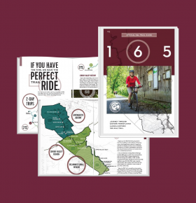 sample pages of D&L Trail guidebook front cover and internal pages